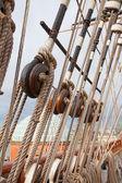 Мачты старый парусный корабль — Стоковое фото