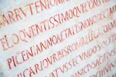 Latin writing carved on tombstone — Stock Photo