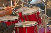 Drums on the open air concert — Stock Photo