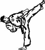 KARATE, Taekwondo high KICK yoko gery. — Stock Photo