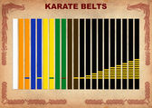 Karate-do colored, black belts. — Stockfoto