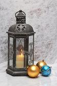Christmas balls and lantern — Stockfoto