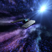 Starry space 3d scene with spaceship — Stock Photo