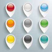 9 Lacation Markers Colored Buttons — Stock Vector