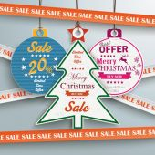 Sale Christmas Stickers — Stock Vector