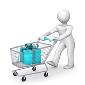 Manikin with Shopping Cart — Stock Photo
