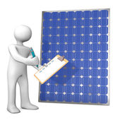 Cartoon character with clipboard and solar panel — Stock Photo