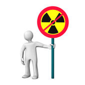 Opponent Of Nuclear Power with a sign — Stock Photo