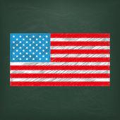 Blackboard with  USA Flag — Stock Vector