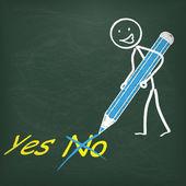 Blackboard Stickman and blue Pen — Stock Vector