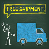 Blackboard Stickman at Car with Free Shipment text — Stock Vector