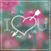 Heart with Arrow, Bokeh Background — Stock Vector