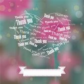 Heart Thank You Bokeh Background — Stock Vector
