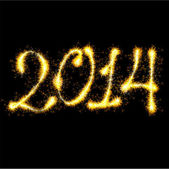 2014 new sparkling year. Christmas and New Year greeting card template. — Stockvektor