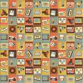 Retro media hipster style pattern. seamless background. — Stock Vector