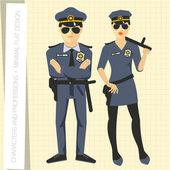 Police officers in flat modern style — Stockvektor