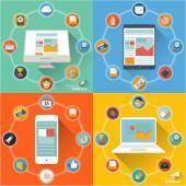 Vector flat design website ui and infographics — Stock Vector