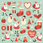 Christmas  retro design collection. — Stock Vector