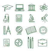 Education and science vector icon set — Stock Vector
