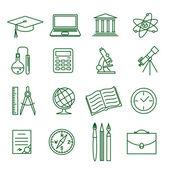 Education and science vector icon set — Stockvektor