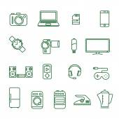 Home electronics  vector icon set — Stock Vector