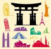 Set of icons   famous international landmarks. — Stock Vector