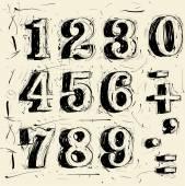 Runge scribble   typeface figures — Stock Vector