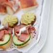 Cold roast beef canapes — Stock Photo #52864161