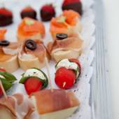Collection of appetizers on a buffet table — Stock Photo