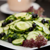 Cucumber and Olive Salad on Plate — Stock Photo