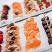 Macro Fresh Asian Food on Tray — Stock Photo