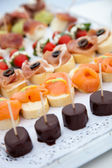 Assorted Delicious Foods on White Tray — Stock Photo