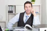 Funny Office Man Holding Pen Between Lip and Nose — Stock Photo