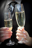 Close Up of Bride and Groom Toasting Champagne — Stock Photo