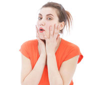 Close Up of Surprised Woman with Hands on Face — Stock Photo