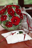 Red Rose Bridal Bouquet with Wedding Ring Pillow — Stock Photo