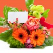 Bouquet of Fresh Flowers with White Blank Tag — Stock Photo #58765271