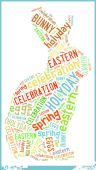 Bunny in Eastern Holiday Celebration Word Cloud — Stock Photo