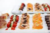 Variety of Appetizers Arranged on Platters — Stock Photo