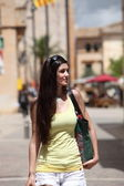 Long Hair Woman in Trendy Attire at the City — Stock Photo