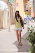 Full Length Shot of Female Standing at the Street — Stock Photo