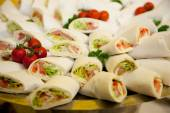 Fresh Spring Rolls with Fish Meat and Veggies — Stock Photo