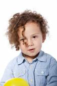 Adorable Curly Child in Casual Light Blue Shirt — Stock Photo
