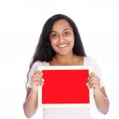 Smiling Woman Holding Empty Small Red Board — Stock Photo