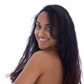 Shirtless Asian Indian Woman with Happy Face — Stock Photo