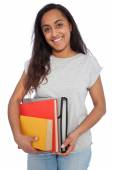 Young Girl Holding Books and Document Organizer — Stock Photo