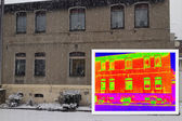 Old House with a thermal imaging — Stock Photo