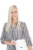 Blond Woman in Striped Shirt Holding Binder — Stock Photo