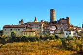 Small town and vineyards on the hill in Italy. — Stock Photo