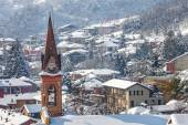 Small town under the snow. — Stock Photo
